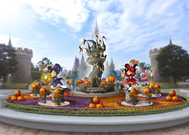 灰姑娘城堡前方圓環的園區裝飾 ©Disney