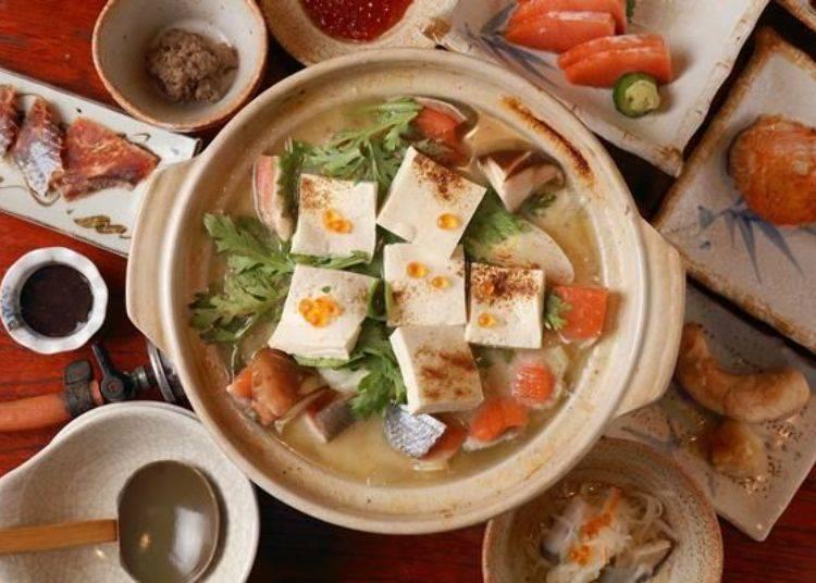金大亭的石狩鍋。是饗宴套餐的其中一道料理。