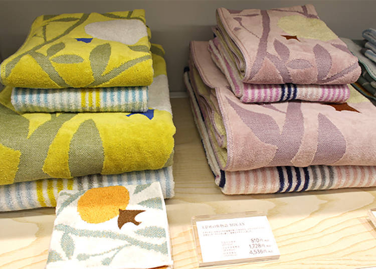 「MIKAN」手帕810日圓、長巾1,728日圓、浴巾4,536日圓(皆為含稅價)