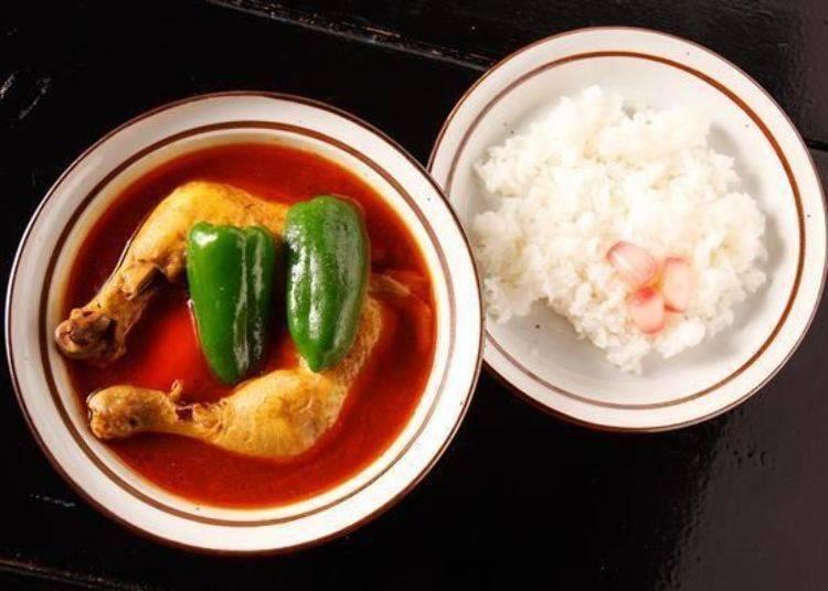 ▲米飯上面盛著辣韮是這間店的特色