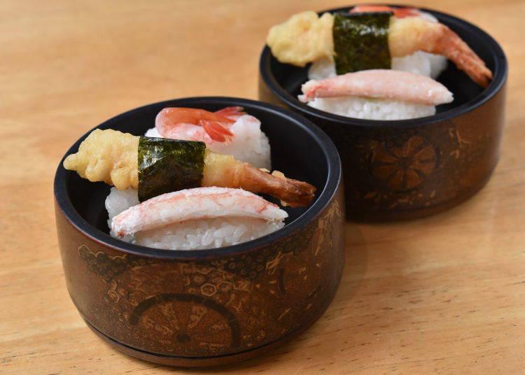 鮮蝦握壽司、蟹肉握壽司、炸蝦握壽司等吃到飽方案中的附餐。