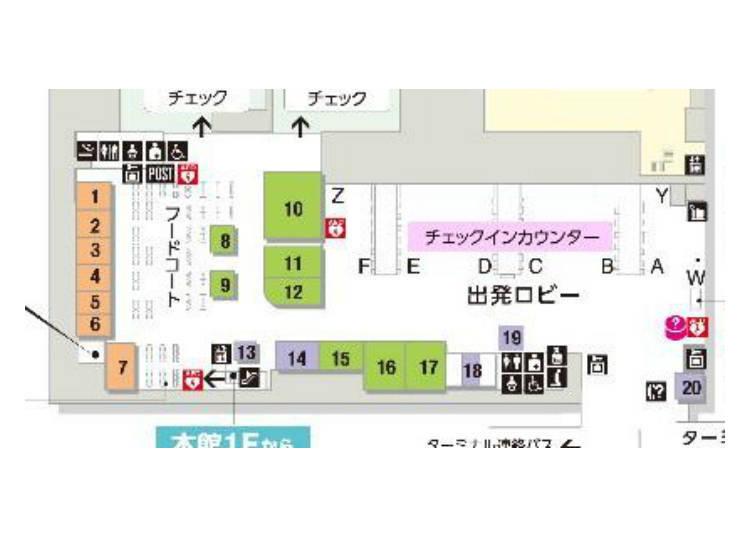 四樓的樓層導覽圖,左邊即是餐飲區,橘色店鋪則是飲食商家。