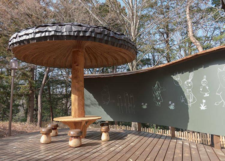 ▲可愛的香菇造型陽傘、椅子,後方的黑板可以用粉筆在上頭塗鴉