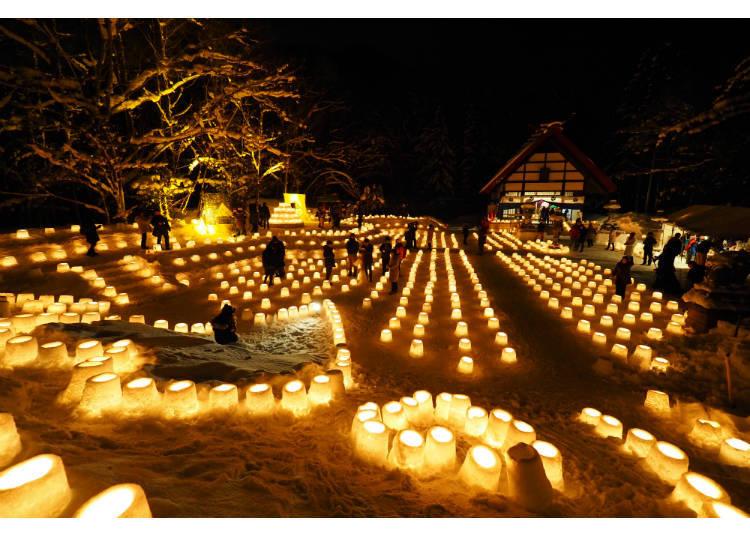 ▲雪塔裡擺放著許多寫著心願的燭台(照片提供:定山溪觀光協會)