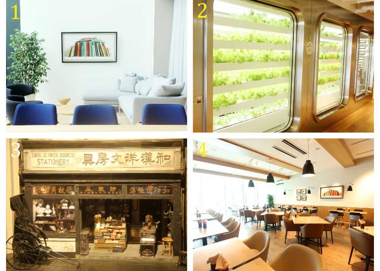 1 「BUSINESS LOUNGE」 2 11樓進行水耕栽培的「FARM」 3 11樓展示出還原創業當時伊東屋的精巧模型 4 CAFE Stylo