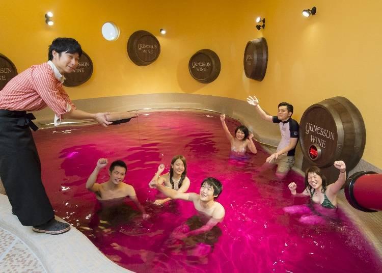 飄散著紅酒香氣的葡萄酒風呂