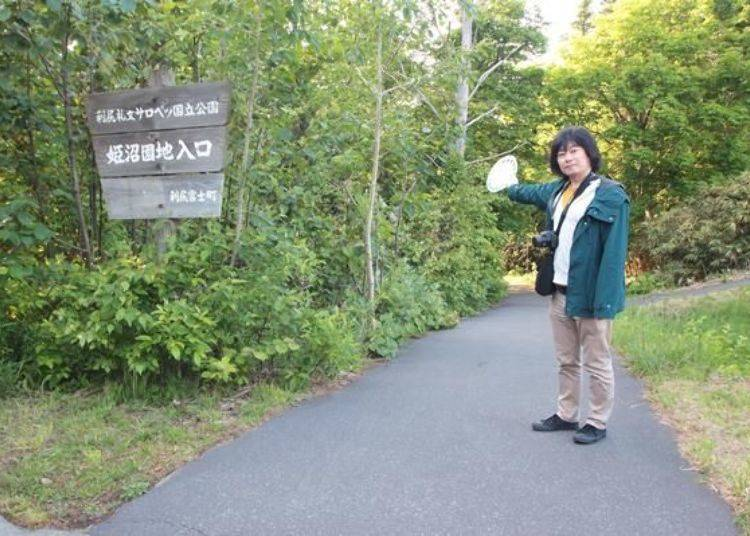 從停車場沿著步道走到姬沼僅需2、3分鐘。