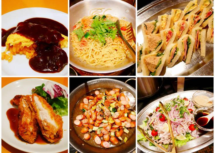 左上起:蛋包飯、鮭魚義大利麵、總匯三明治 左下起:炸豬排、德式香腸七彩拌菜、鮮嫩豬肉片沙拉