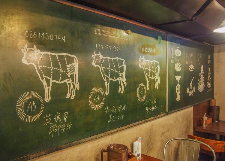 店家會把所使用的和牛來源清楚標示在黑板上,例如有茨城縣常陸牛、青森縣黑毛和牛、岩手縣黑毛和牛