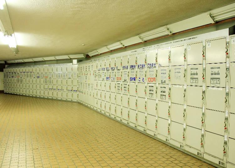 有200個置物櫃的Pepe地下1樓,大型尺寸有12個,6小時200日圓。
