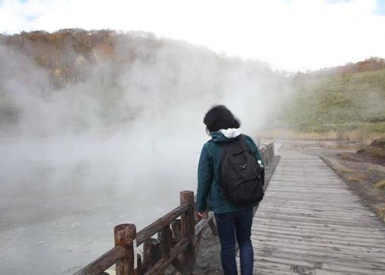 溫泉熱氣彌漫的溫泉沼澤。可以近距離的觀賞這充滿魄力的高溫溫泉沼澤。