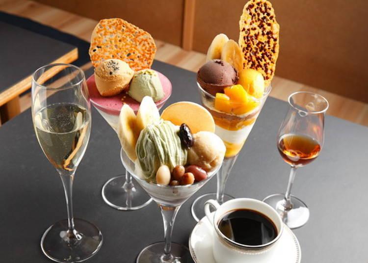 ▲從左至右的飲品,氣泡葡萄酒(756日圓)、黑咖啡(594日圓)、Paul Giraud白蘭地(1080日圓)