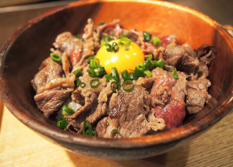 霜降黑毛和牛烤肉丼(霜降り黒毛和牛の焼きしゃぶ丼)(午餐套餐100g,1470日圓含稅)