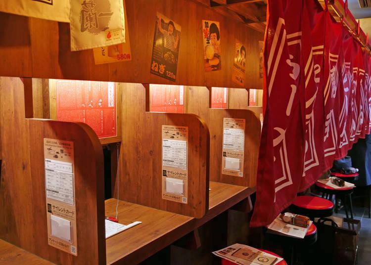 「一蘭」日本國內外的店鋪基本上拉麵的味道及店鋪裝潢都是一樣