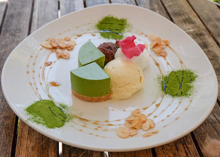 京抹茶生乳酪蛋糕(京抹茶のレアチーズケーキ)831日元 (含稅)