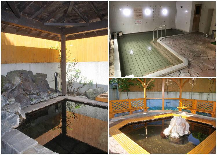 左:男性專用的露天浴池 右上:女性專用大浴池 右下:飯店前面免費使用的足湯「足つぼの湯」