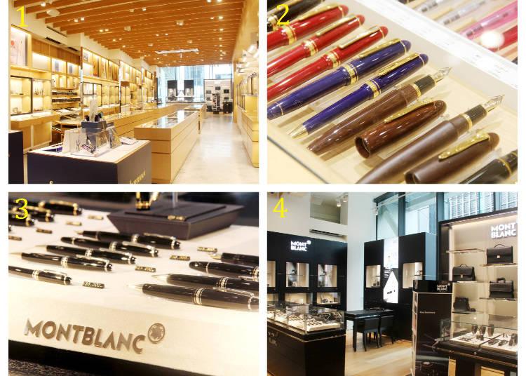 1 各式鋼筆、原子筆一字排開 2 PLATINUM鋼筆公司所生產鋼筆2萬1600日圓~ 3.4 德國品牌「MONTBLANC」專區
