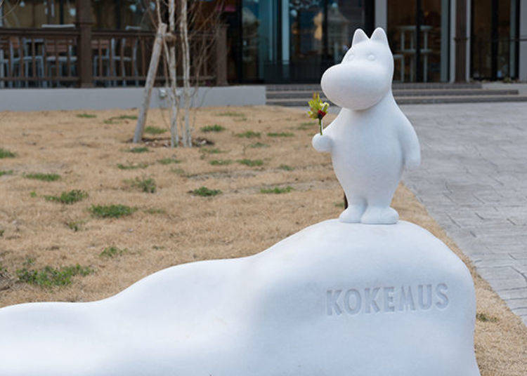 ▲KOKEMUS門口擺放了迎接遊客的嚕嚕米雕像