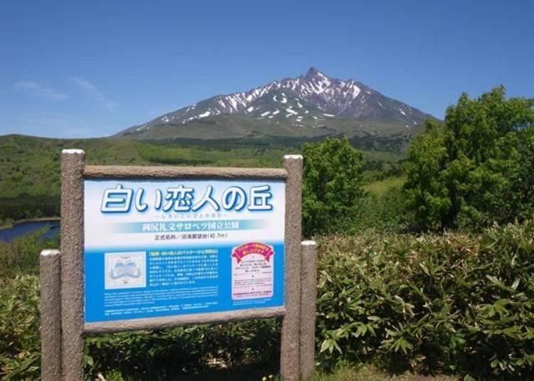 傳說中的「白色戀人之丘」。「白色戀人」包裝盒上所繪製的雪山,據說便是從這個角度所看到的利尻山。(照片提供:利尻富士町觀光協會)