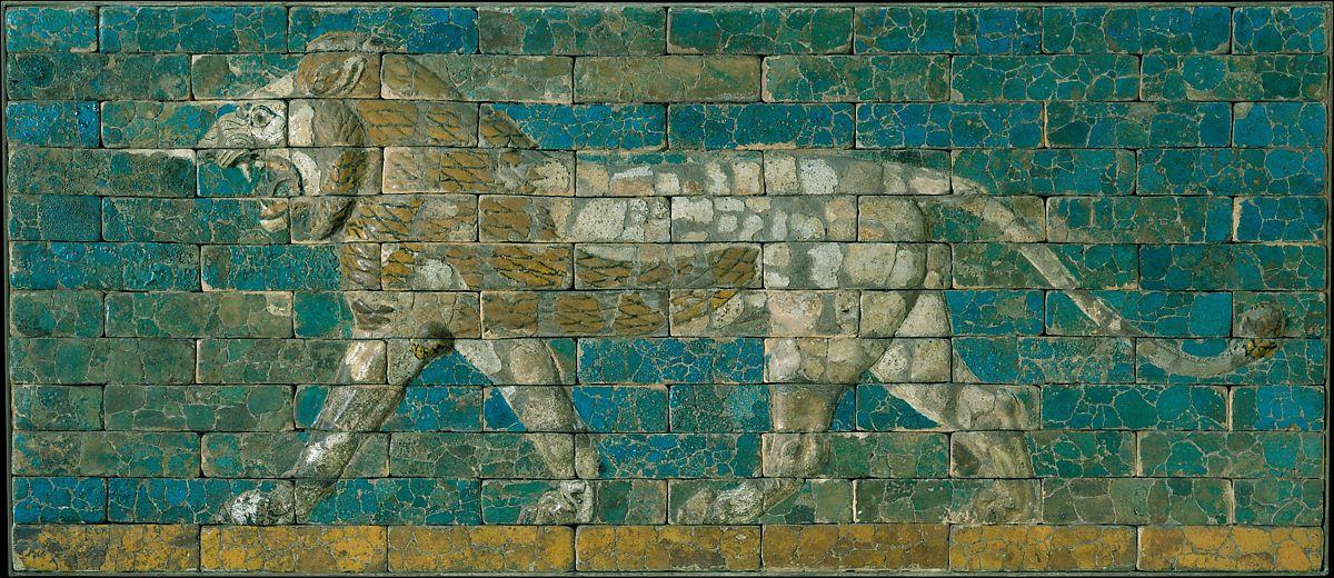 這片獅子圖案的文物在約公元前604-562被製造出來,那時是新巴比倫王國的頂峰。圖:美國大都會博物館/公眾領域下載