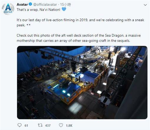 《阿凡達》官方推特曝光了「海龍母艦(Sea Dragon)」。(圖/翻攝自推特)