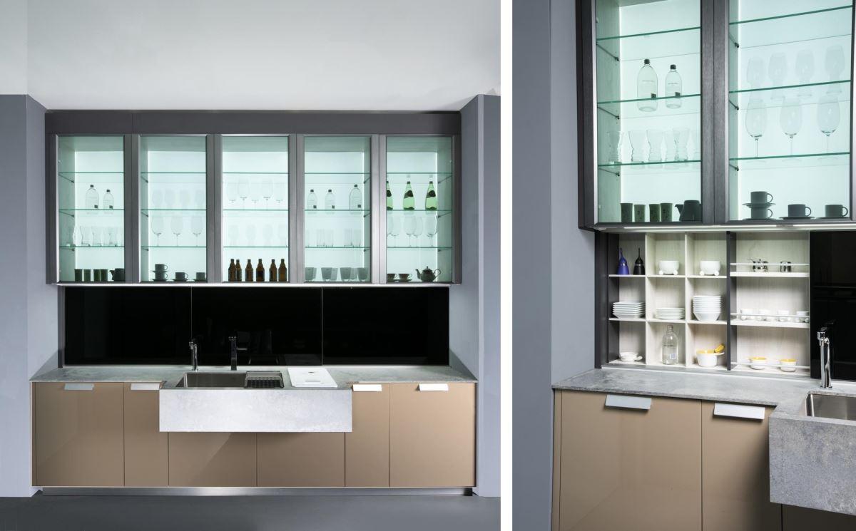 超高櫃體結合觸感細膩、四邊刷線的鈦灰色《極光》系列鋁框,搭配5mm黑色強化透明玻璃,兼顧實用機能與時尚感,將米蘭展最新趨勢帶入展場中。