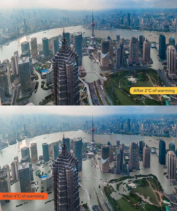 升溫2度(上)與4度對上海的影響(取自網路)