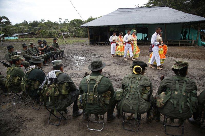 哥倫比亞革命武裝力量人民軍游擊隊的營隊。(美聯社)