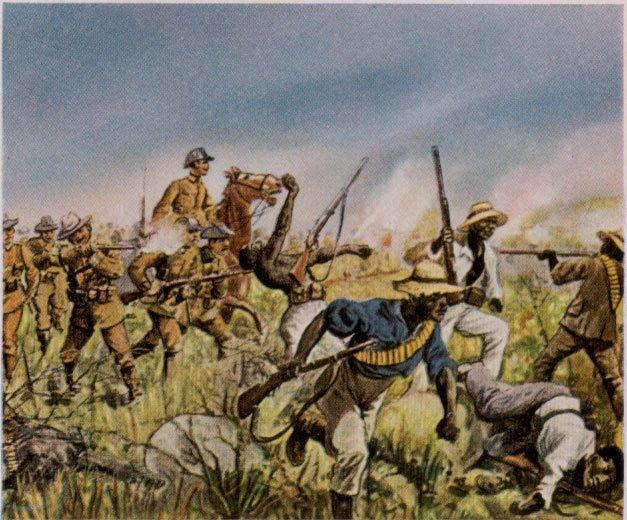 一幅描寫赫雷羅與納馬大屠殺的畫作。(圖/維基百科公有領域)