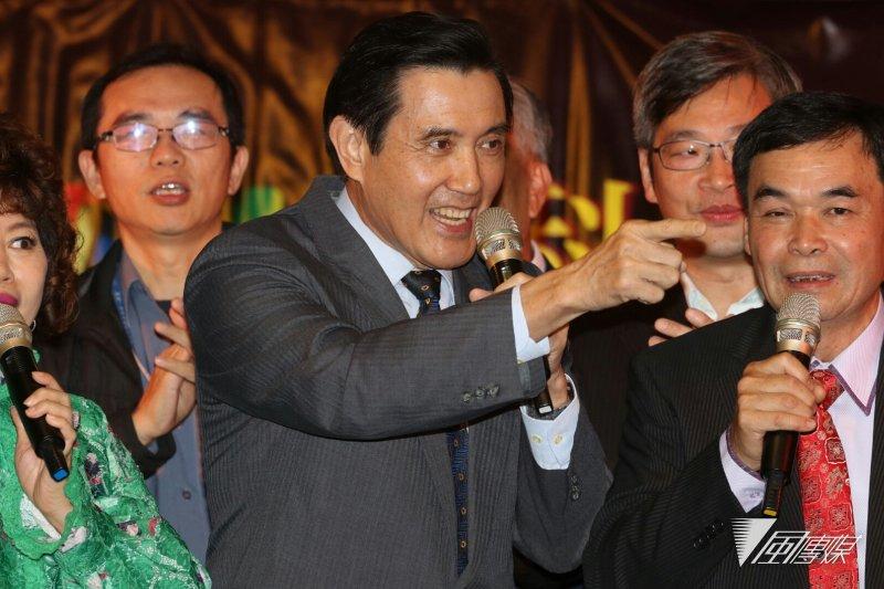 20170106前總統馬英九今(6)晚出席內科之夜聯歡晚會,提及過去「馬市長」的政績,引起現場熱烈回響。(蘇仲泓攝)