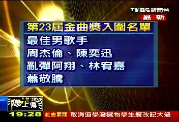 金曲獎/〈快訊〉第23屆金曲獎 公布流行音樂入圍名單